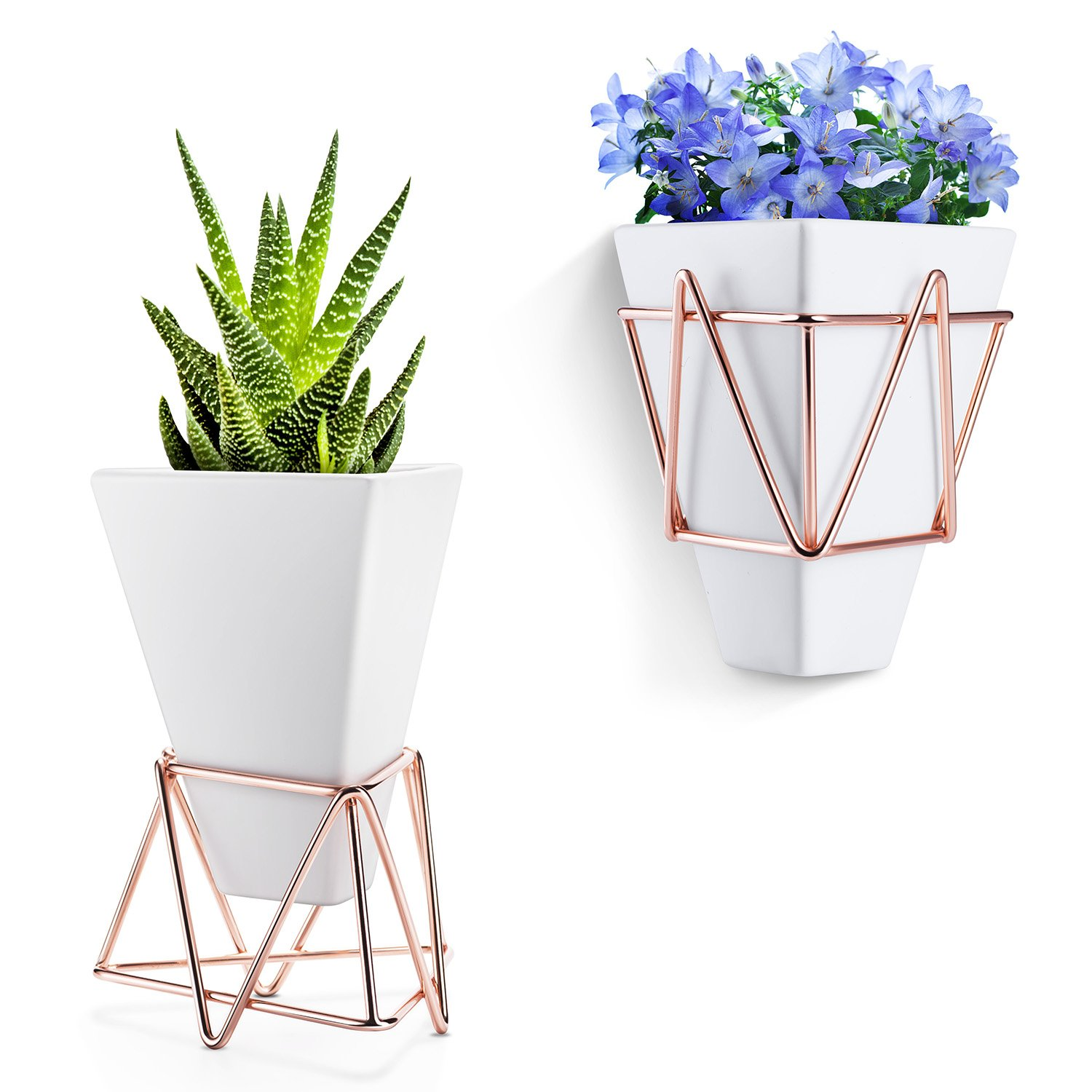 Love-KANKEI Wall Hanging Planter White Ceramic and Copper Pot - Geometric Plant Holder for Succulent Air Plants Mini Cactus Artificial Flowers 100000048