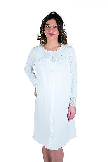 TALLA VI (XL). Premamy - Camisa Clinica para Maternidad, Modelo de Frente Abierto, Jersey algodón, pre-Post-Parto