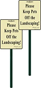 allsignsco 2-Pack, Discreet Please Keep Pets Off The Landscaping Lawn Sign 7
