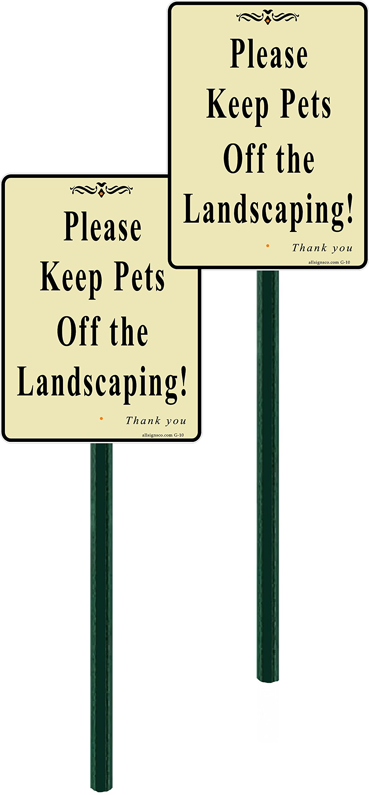 allsignsco 2-Pack, Discreet Please Keep Pets Off The Landscaping Lawn Sign 7'' x9'' with 2 ft Steel Stake Assembled