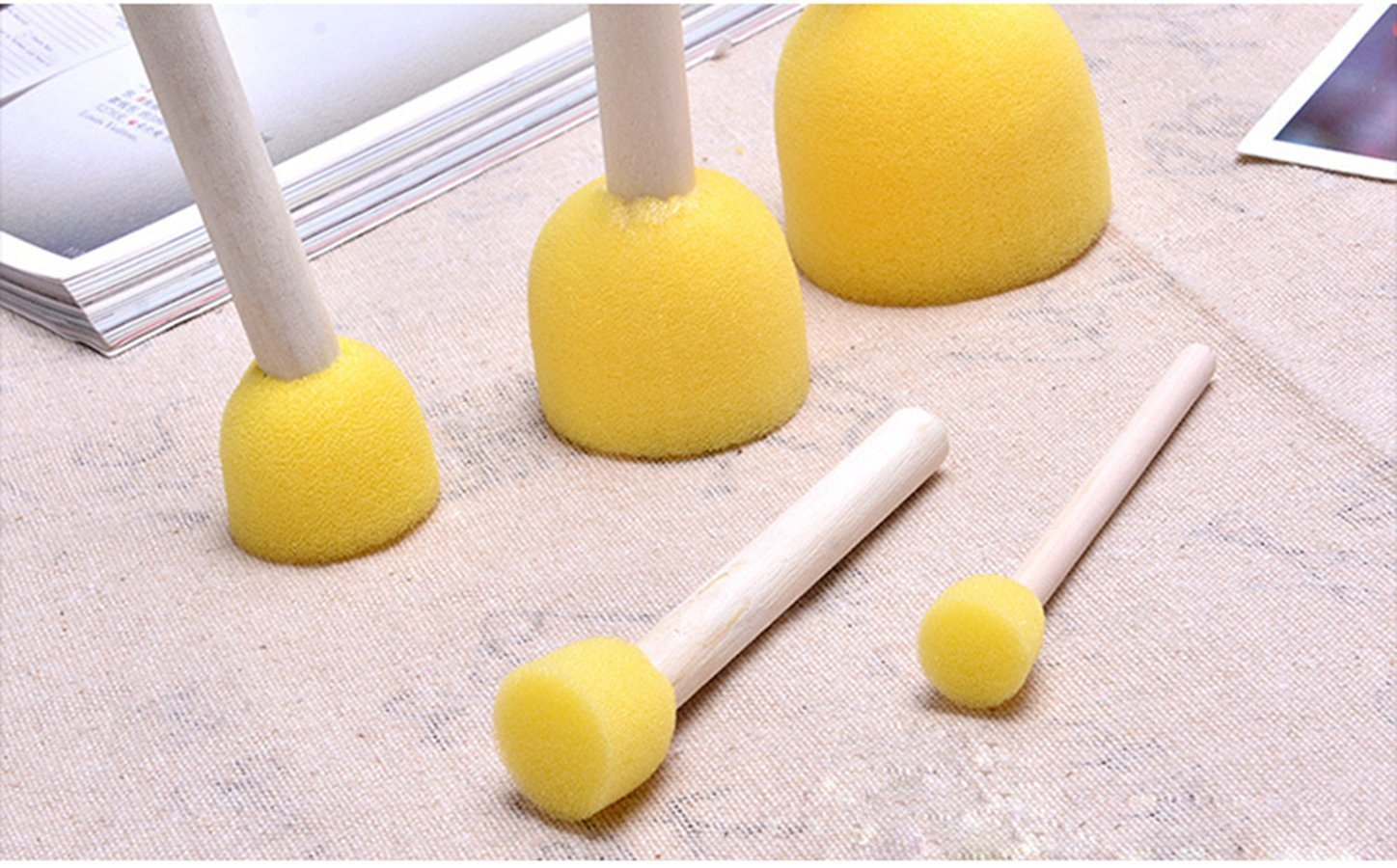 Yellow Micent 20-Pieces Assorted Size Round Sponges Brush Set Kids Painting Tools Sponge Painting Stippler Set DIY Painting Tools for Kids