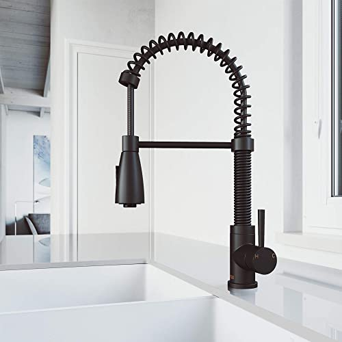 VIGO VG02003MB Brant 19 Inch Modern Single Handle Brass Kitchen Sink Faucet with Pull Down Sprayer, Single Hole Deck Mount Install, Plated Seven Layer Matte Black Finish