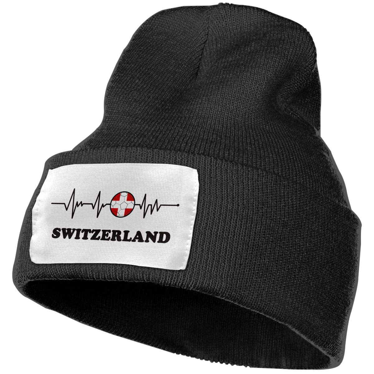 Unisex Soccer Heartbeat I Love Switzerland Outdoor Fashion Knit Beanies Hat Soft Winter Skull Caps