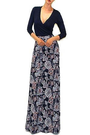 e61a997c930 Vivicastle Women s Printed V-Neck 3 4 Sleeve Wrap Waist Tie Long Maxi Dress