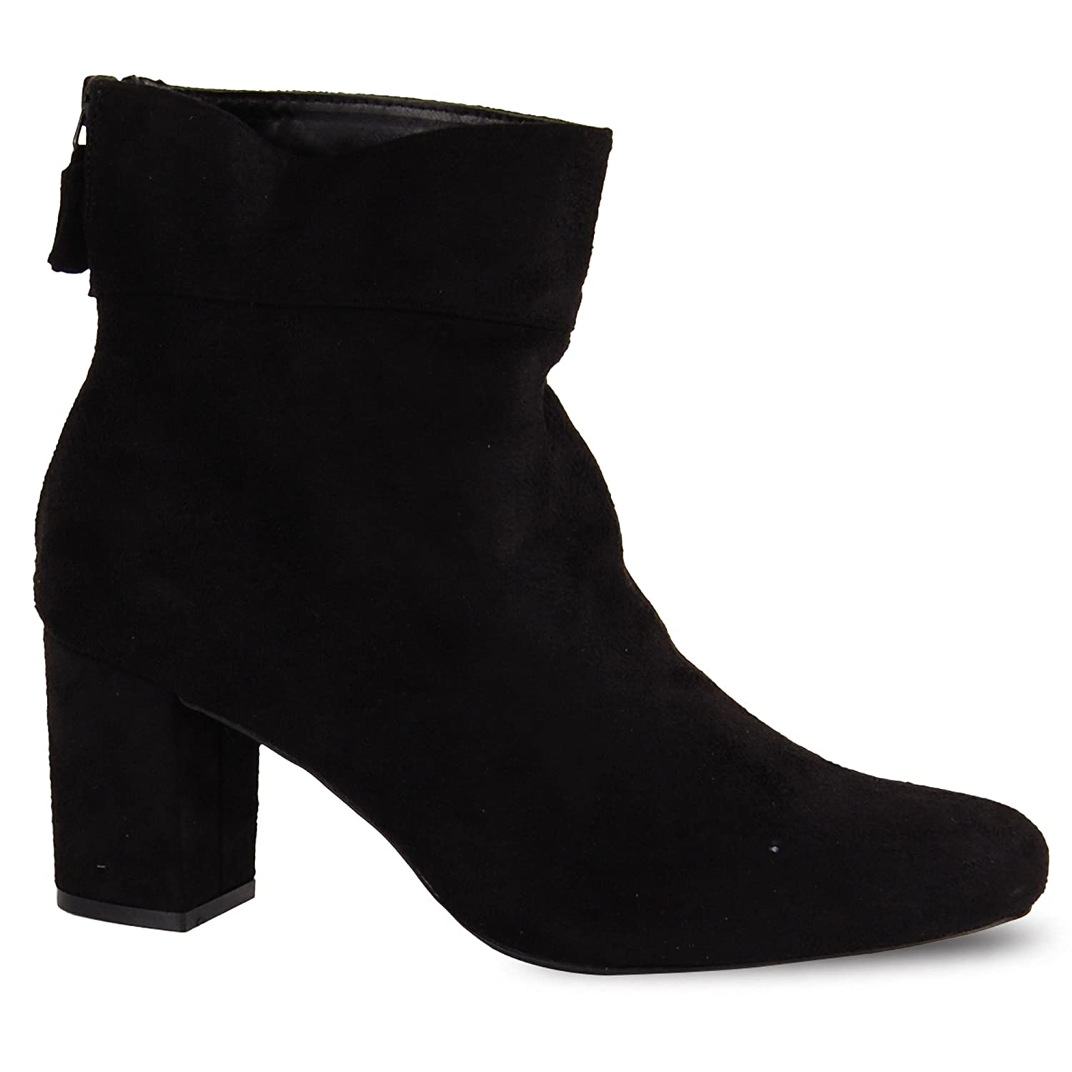 93066d2d9ea81 Womens Ladies Zip Up Sock Fit Block Heel Faux Suede Ankle Boots Smart  Casual Mid High Heel Shoe Boot  Amazon.co.uk  Shoes   Bags