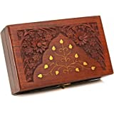 Diwali Gifts Wooden Keepsake Storage Box Jewelry Trinket Holder Organizer Floral Hand Carvings with Brass Inlay