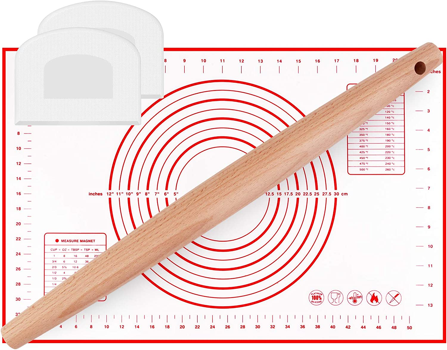 Mixoo Silicone Baking Mat with Wooden Rolling Pin Set - Non-Stick Food Safe Dough Rolling Pastry Mat with a French Rolling Pin and 2 Dough Scrapers for Baking, Fondant, Pie Crust, Pizza, Bread, Cookie