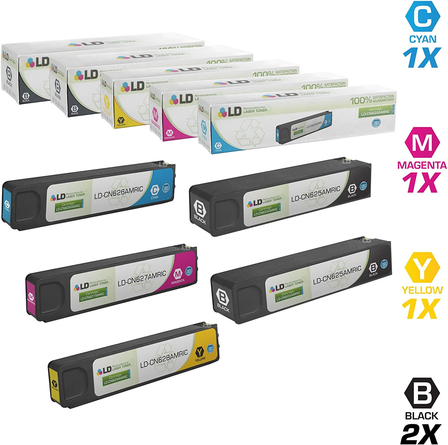 LD Remanufactured Ink Cartridge Replacements for HP 970XL & HP 971XL High Yield (2 Black, 1 Cyan, 1 Magenta, 1 Yellow, 5-Pack)