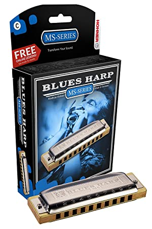 Hohner Accordions 532 Blues Harp MS Harmonica - Key of C Bundle with Carrying Case, Polishing Cloth (Color: Key of C, Tamaño: Blues Harp MS)