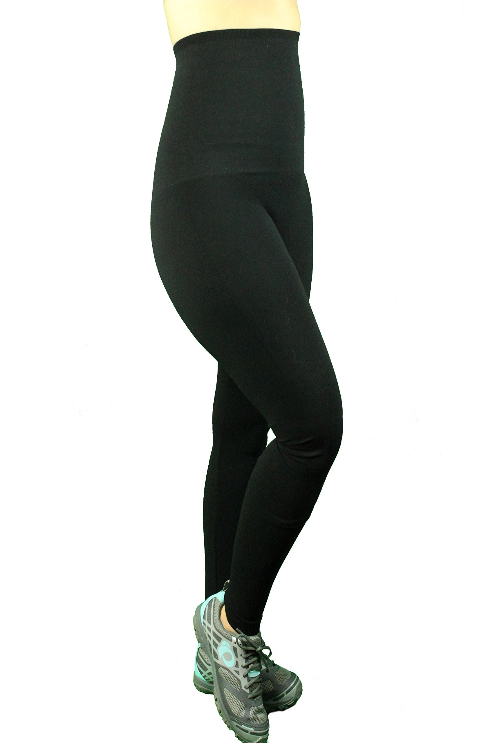 Mothers Essentials Postpartum High Waist Tummy Compression Control Slimming Leggings (Large, Black)