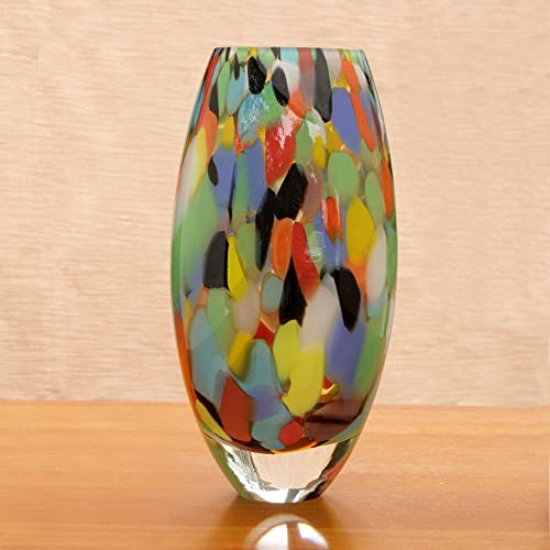 NOVICA Multicolor Confetti Hand Blown Murano Style Art Glass Vase, Carnival Confetti