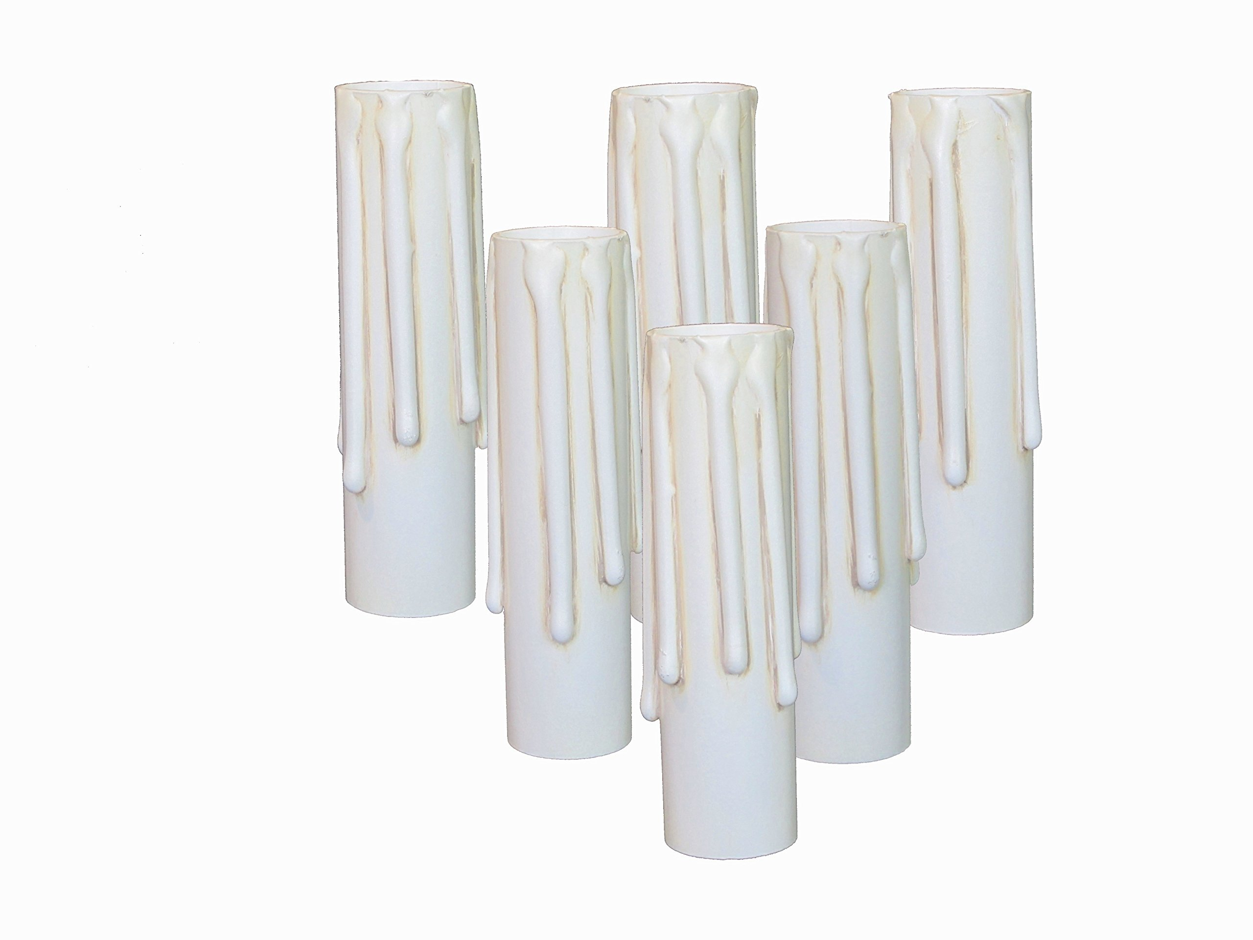 Lighthouse Industries Set of 6 pc. 3 Inch Tall Ivory Blush Long Drip Hybrid Resin No Melt Oversized Candelabra Base 7/8'' Inner Diameter Faux Beeswax Candle Covers, Socket Sleeves 60 watts
