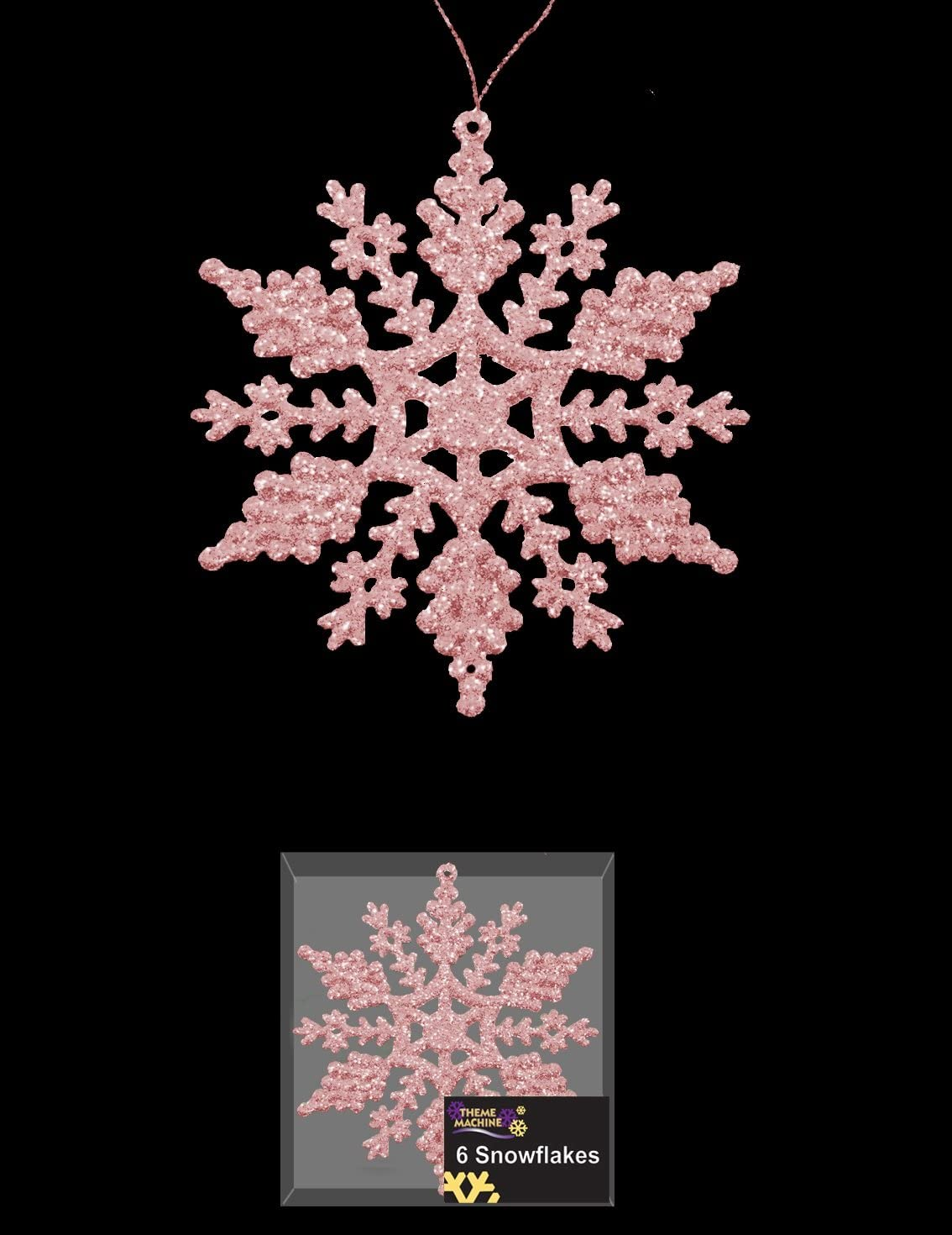 Pack Of 6 Pink Glittery Hanging Snowflakes Christmas Tree Decorations