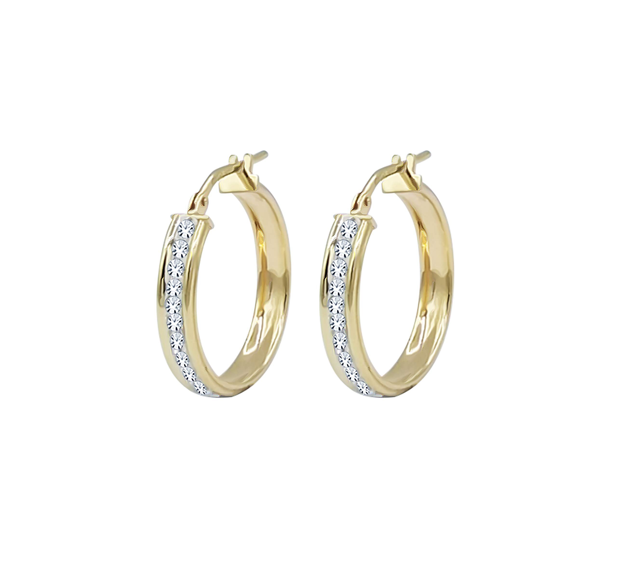Amata Fine Jewelry 18K Yellow Gold Plated Sterling Silver Hoop Earrings for Women- Studded with Swarovski Austrian Crystals (20mm Round Hoop)