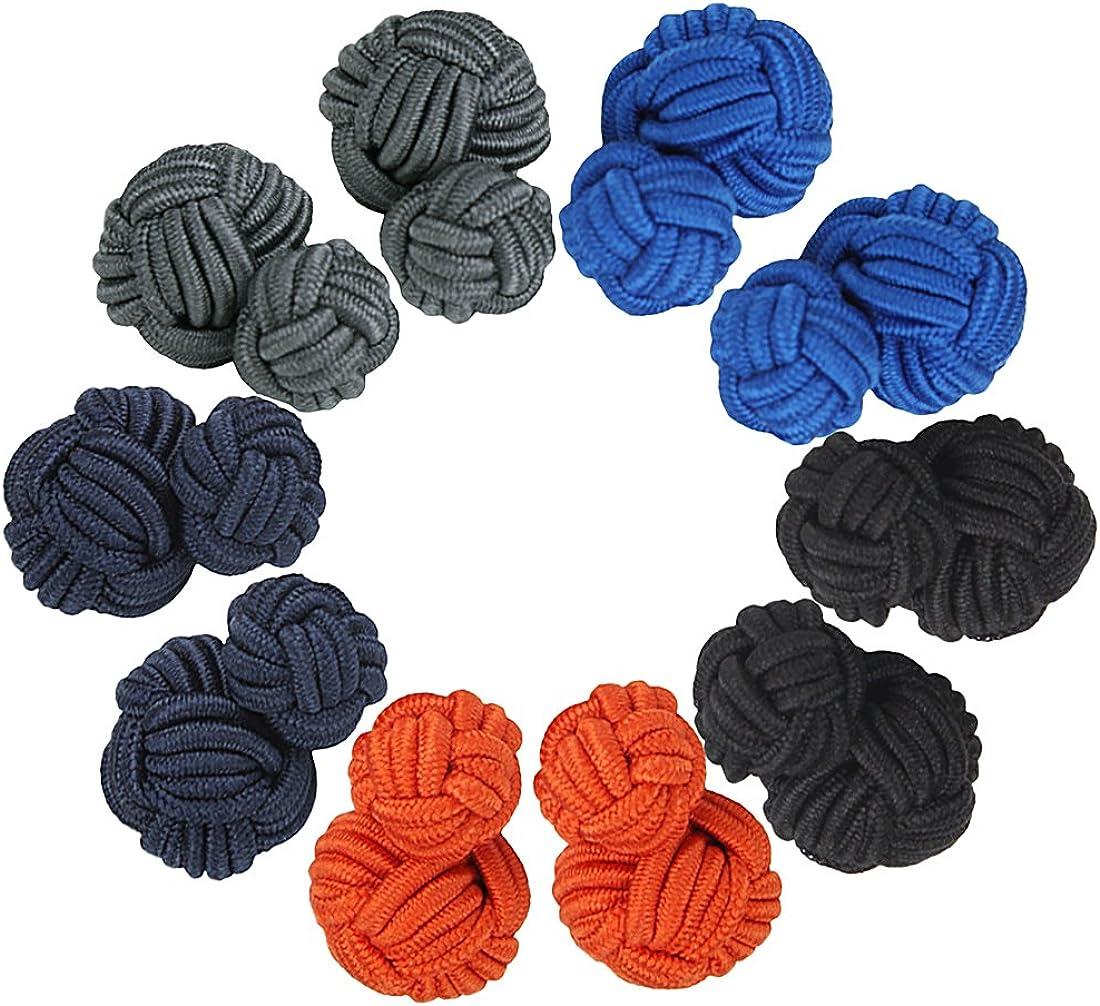 Larcele Retro Gemelos de botón Gemelos de nudo de seda Regalo Conjunto para Boda 5 pares CSXK-01