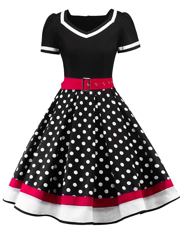 Polka Dot Dresses: 20s, 30s, 40s, 50s, 60s Nihsatin Womens Audrey Hepburn Vintage Style Rockabilly Swing Dress $29.99 AT vintagedancer.com