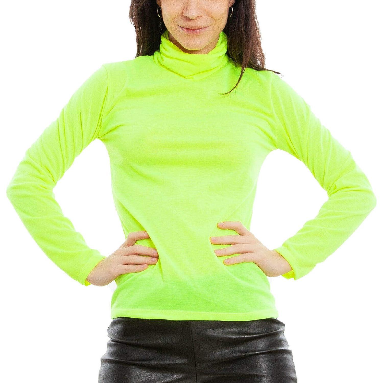 Maglia Donna Lupetto Dolcevita Colori Fluo Collo Alto Basic JL-2578 Toocool