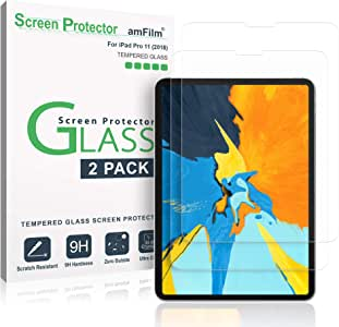"""amFilm iPad Pro 11 inch Screen Protector Glass (2-Pack), Tempered Glass Screen Protector with TOP Notch for Apple iPad Pro 11"""" 2018 Apple Pencil Compatible 0.33mm 2.5D Rounded Edge (2-Pack)"""