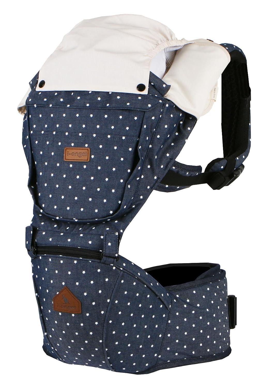 i-angel - Babytrage Hüftsitz 2 in 1 (Denim mit weissen Punkten) - Hipseat Baby Carrier - Tragehilfe 3-36 Monate