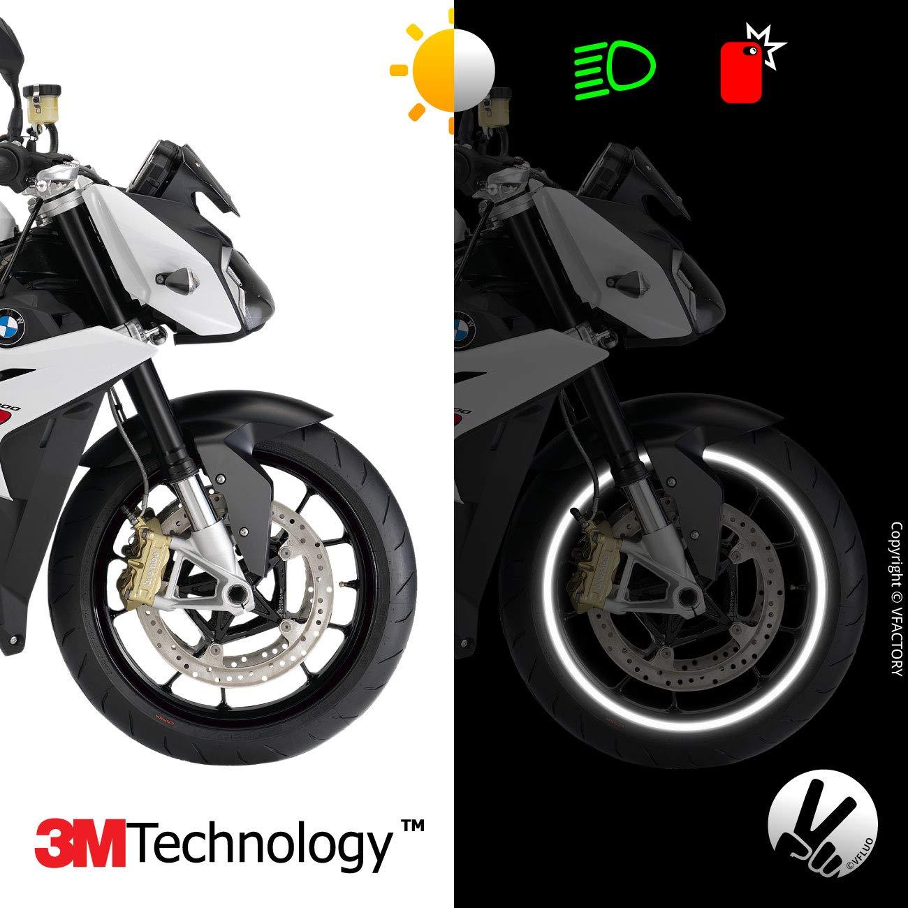 1 Roue Jaune VFLUO Circular/™ Kit Bandes Jantes Moto r/étro r/éfl/échissantes Liseret Largeur XL : 10 mm 3M Technology/™