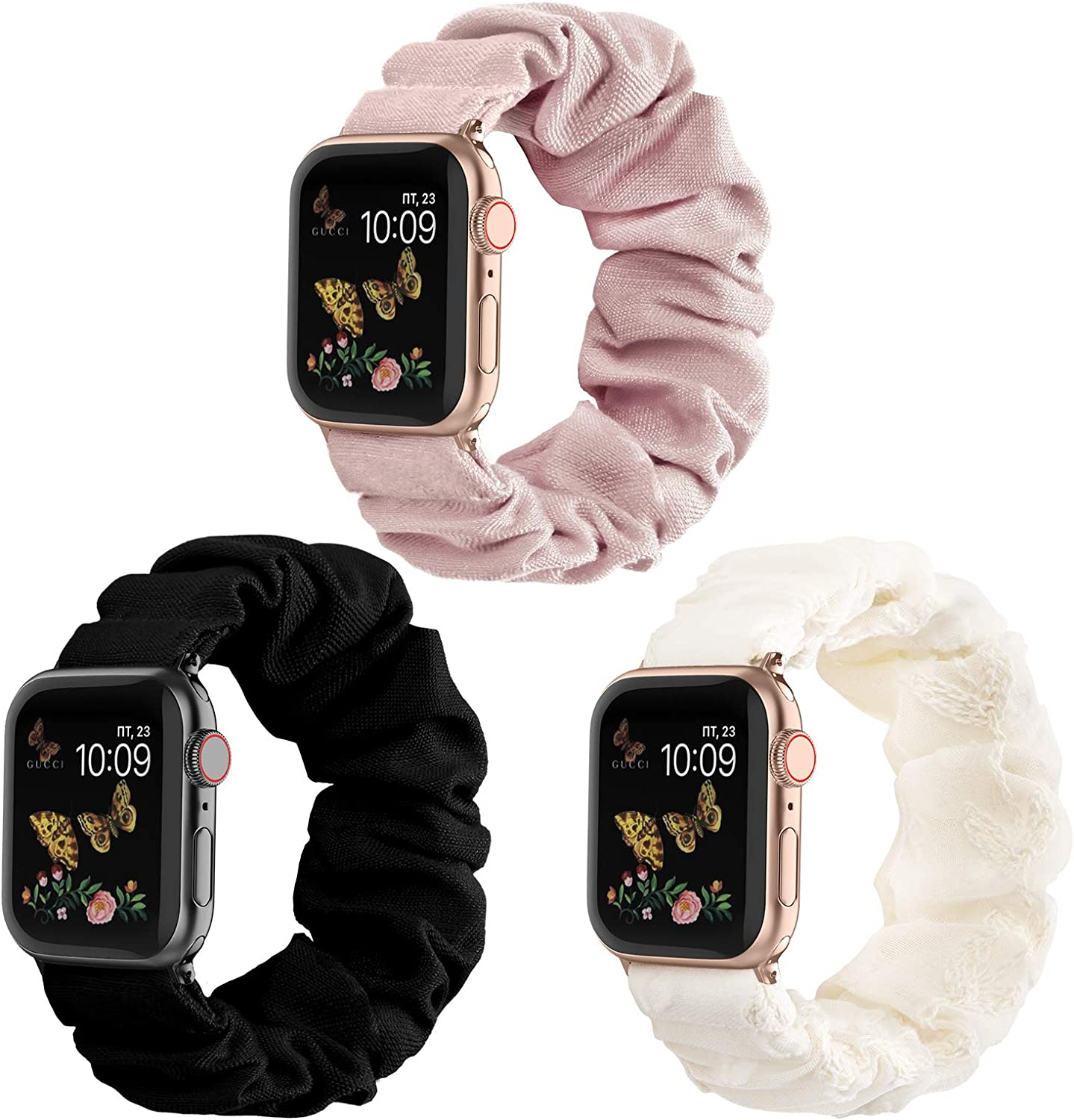 Recoppa Compatible for Scrunchie Apple Watch Band 38mm 42mm 40mm 44mm Cute Print Elastic Watch Bands Women Bracelet Strap for Apple iWatch Series 6 5 4 3 2 1