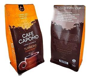Capomo Herbal Coffee Substitute With Turmeric - Acid, Caffeine And Gluten Free - Natural Dark Roast - Maya Nut - 11 oz.'s - From Tattva's Herbs