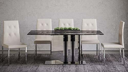 Nero Modern Dining Table with Genuine Marble Top and Mirrored Base – Black
