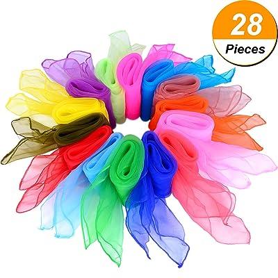 28 Pièces Écharpes de Danse Écharpe en Jonglerie Carrée Écharpes Magiques, 14 Couleurs, 24 par 24 Pouces