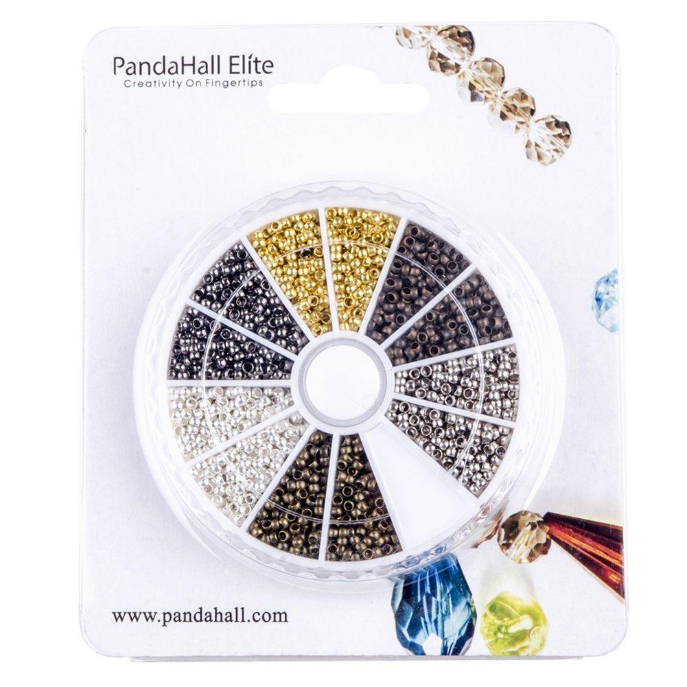 Trou 3000 Pcs 6 Couleurs perles /à /écraser en Laiton 2 mm Perles Tube /à Sertir Perle Ronde pour la Fabrication de Bijoux PandaHall 1.2mm