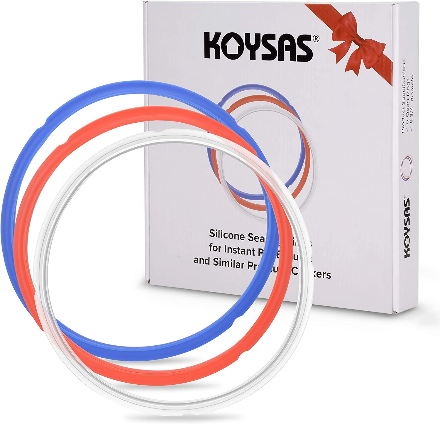 KOYSAS Silicone Sealing Rings for 6 Quart Instant Pot - Pack of 3 Colored Rings - Blue, Red and Clear - Easy Clean for Instapot and Similar 6Qt Pressure Cookers - Gift Quality Packaging