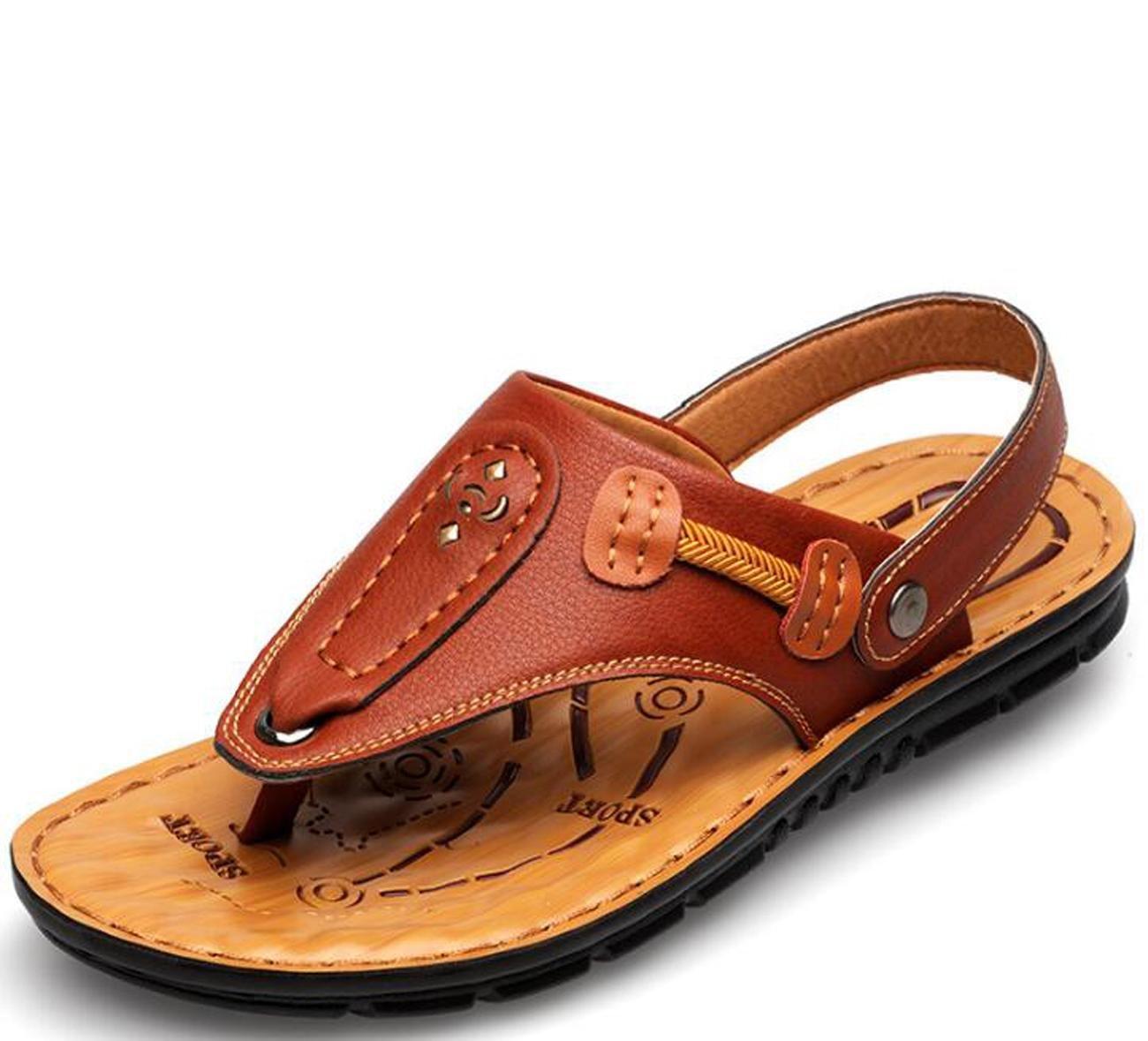 Beauqueen Dual-Use Man's Outdoors Strand Hausschuhe Sandalen Sommer Gesunde Soft Outsoles Clip-Toe Casual Anti-Rutsch-Sport Casual Comforty Schuhe EU Größe 38-44