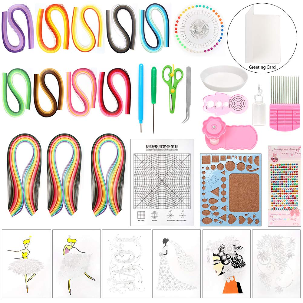 LAMPTOP 32 Pieces Paper Quilling Kit and Supplies Including 45 Colors 1620 Strips Board Mould Crimper Coach Comb DIY Set for Art Craft by LAMPTOP