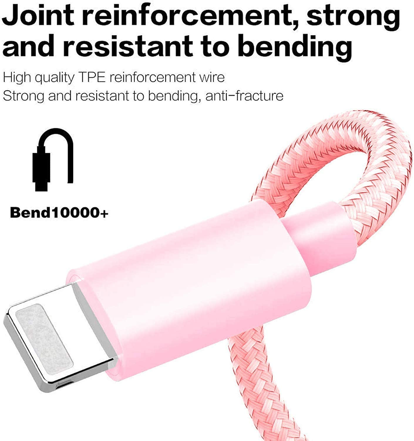 Mfi Certified Lightning Cables 5Pack 2x3Ft 2x6Ft 10Ft to USB Syncing Data and Nylon Braided Cord Charger for iPhone 11//11 Pro Max//XS MAX//XR//XS//X//8//7//Plus//6S//iPad iPhone Charger Pink