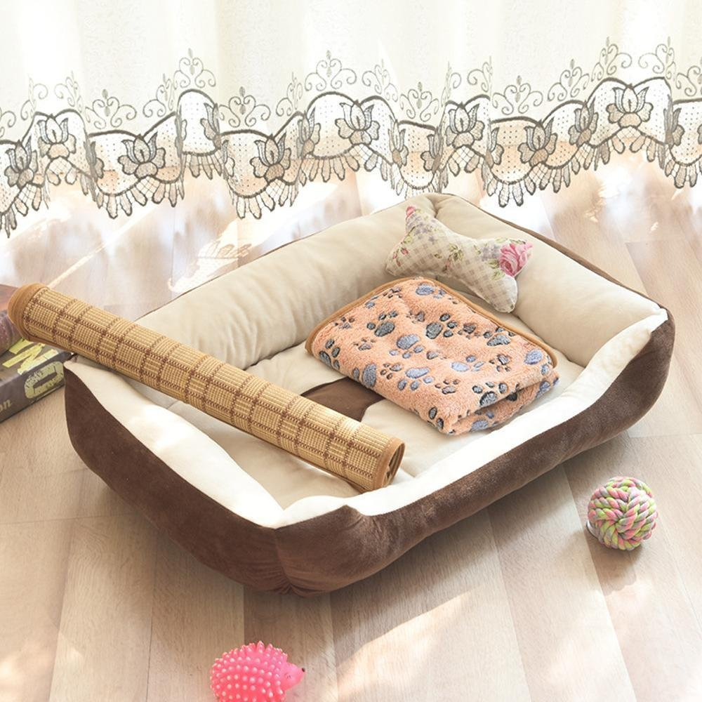 B 45x30cmWUTOLUO Pet Bolster Dog Bed Comfort Four Seasons cushion Kennel indoor Pet nest (color   A, Size   60x45cm)