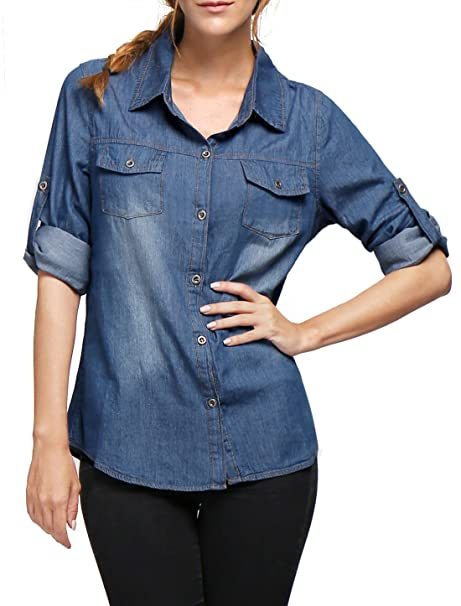 5922b14b003 Allegra K Women s Long Roll up Sleeves Washed Denim Cotton Jean Shirt M  Blue at Amazon Women s Clothing store