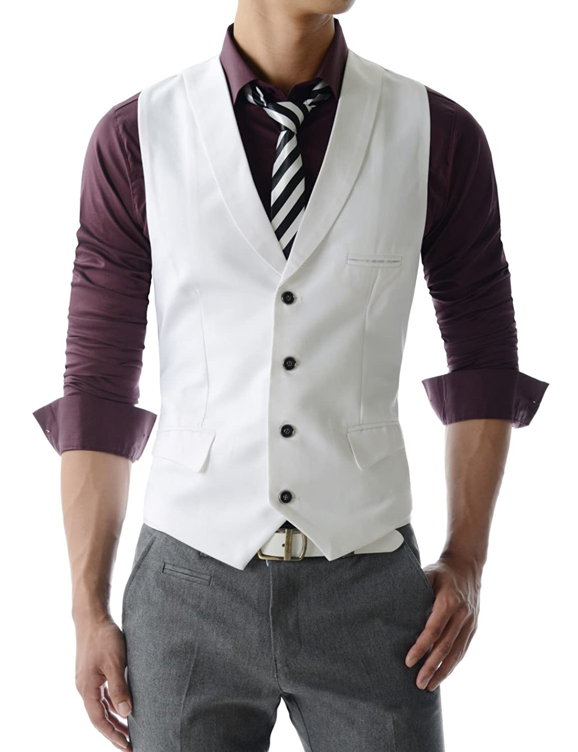 1920s Style Mens Vests VE34 TheLees Mens premium layered style slim vest waist coat $33.99 AT vintagedancer.com