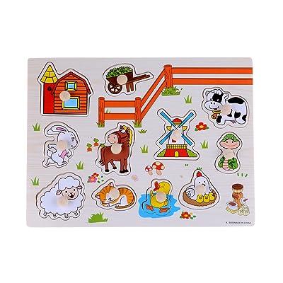 Rolimate bois Animaux Ferme Peg Puzzle Bundle jouets de forme