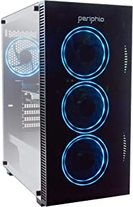 Periphio Gaming Desktop Computer Tower PC, Intel Quad Core i5 3.1GHz, 8GB RAM, 128GB SSD + 1TB 7200 RPM HDD, Windows 10, GeForce GTX 1650 4GB Overclocked Edition Graphics Card RGB HDMI Wi-Fi (Renewed)