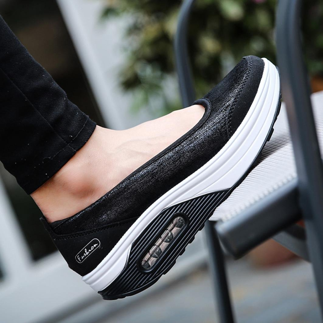 Big Promotion! Women Casual Shoes, Neartime 2018 Fashion Air Cushion Platform Shoes Shallow Round Toe Sport Sneakers (US:8, Black) by Neartime Sandals (Image #5)