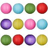 Paper lanterns UK Lot de 12suspensions rondes en papier de type lampion avec structure en fil de fer Multicolore 30 cm