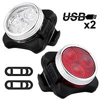 Nasharia Fahrradlicht LED Set, USB Wiederaufladbare LED Fahrradlichter Set LED Frontlicht und Rücklicht Für Radfahren,4 Licht-Modi,Frontlicht und Rücklicht Fahrradlampe Set