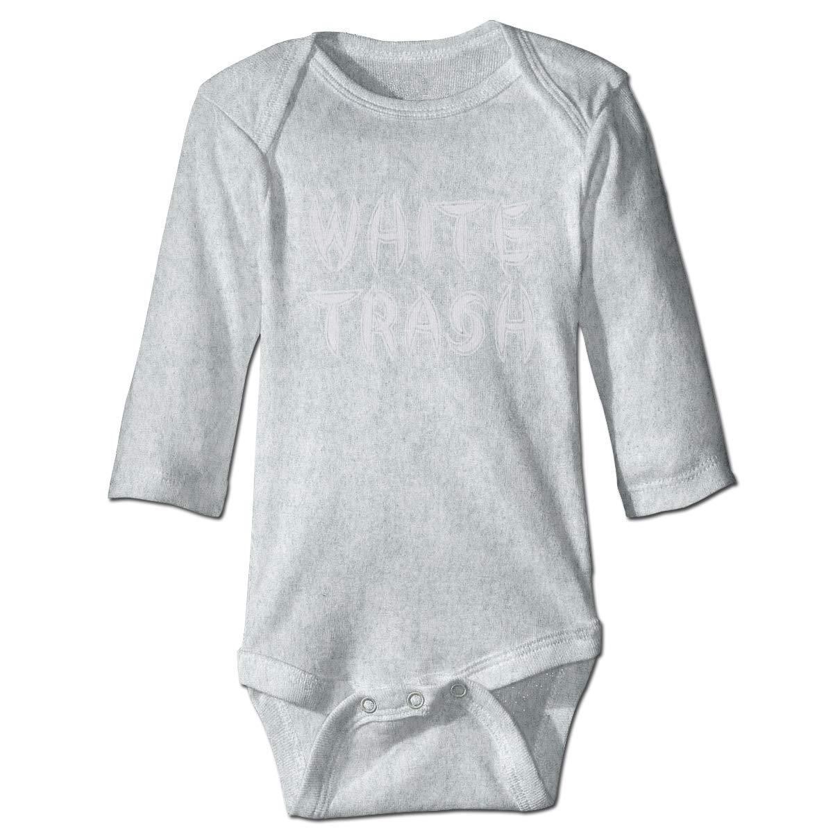 XHX Baby White Trash Long Sleeve Romper Onesie Bodysuit Jumpsuit