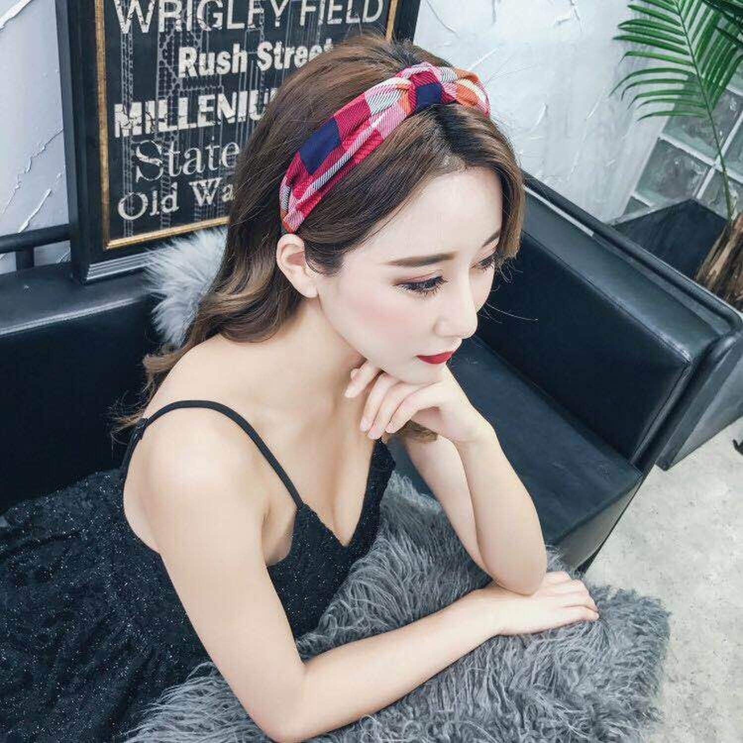Summer Fashion Flower Fabric Bowknot Hair Band Women Girls Hair Bows Head Hoop Bands Accessories for Headband,Scrunchy