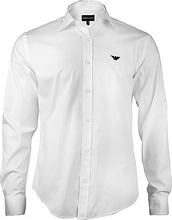 Camisa Armani hombre Slim Fit Business, camisa manga larga con botones y cuello Kent. Su comodidad proporciona un aspecto impecable y relajado a la vez Weiß XXL: Amazon.es: Ropa y accesorios