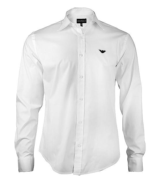 a57e0885fa Armani – Camicia da uomo, Slim Fit Business, a maniche lunghe con bottoni e  colletto all'italiana – dona il massimo del comfort