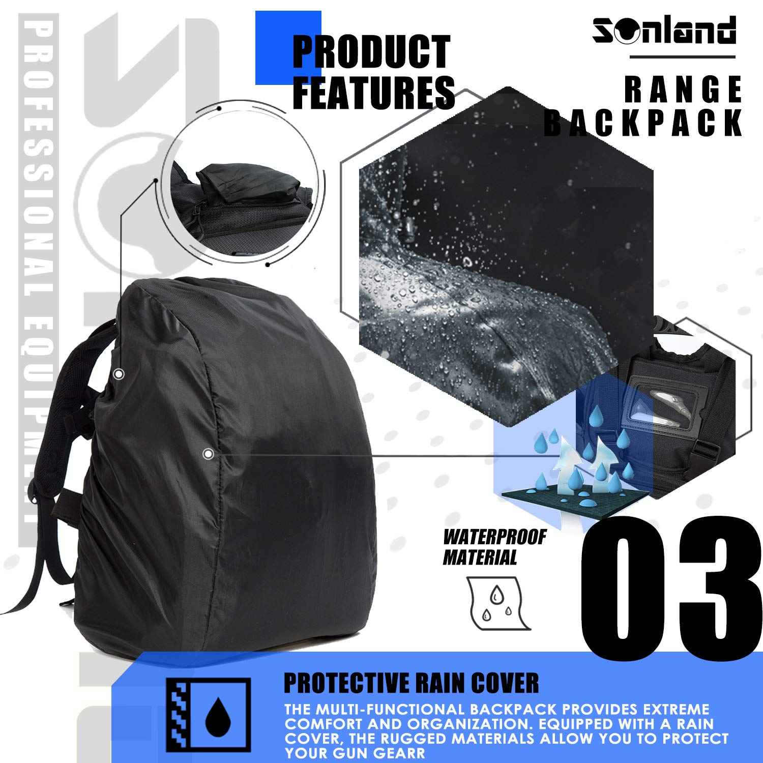 SUNLAND Range Bag Backpack,Gun Backpack with 3-Pistol Case and Protective Rain Cover,Tactical molle System & Lockable zippers-18'' x 14'' x 8'' (Blk) by SUNLAND (Image #4)