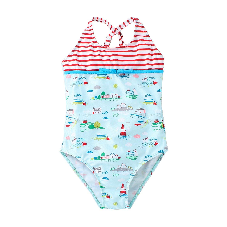 Hongshilian Little Girls Cartoon Beach Sport Swimwear One Piece Baby Swimsuit(Country & Blue,XXL)