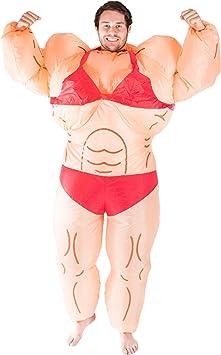 Bodysocks® Disfraz Hinchable de Mujer Gorda Bodybuilder ...