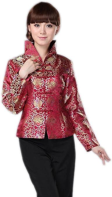 XueXian(TM) Mujer Chaqueta Cheongsam de Manga Larga de Seda Estampado de Flores Estilo Chino(Rojo Oscuro, EU 44/China 3XL:Busto 104cm): Amazon.es: Ropa y accesorios