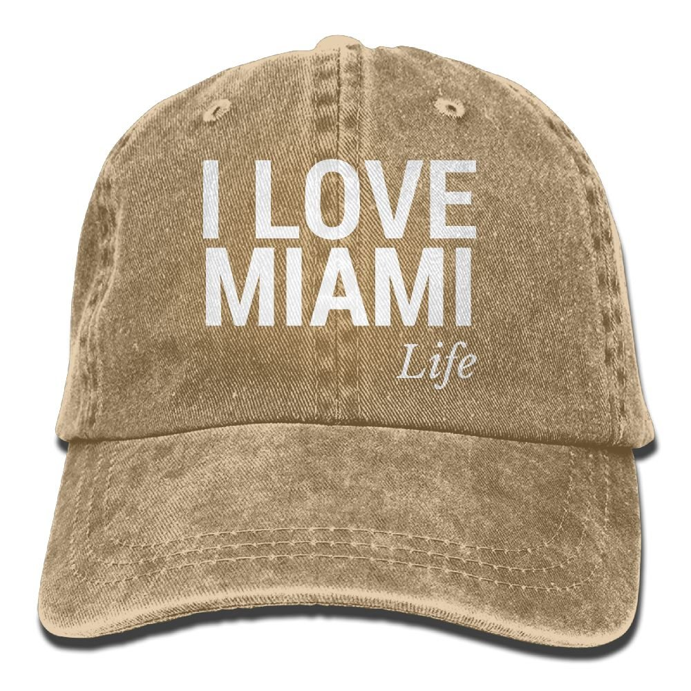 I Love Miami Life Trend Printing Cowboy Hat Fashion Baseball Cap for Men and Women Black